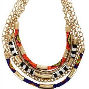 BCBG Tribal Bead Statement Necklace